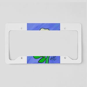 White Flower License Plate Holder