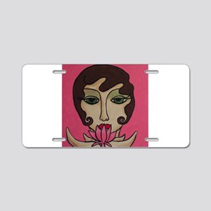 Lotus Blossom Aluminum License Plate
