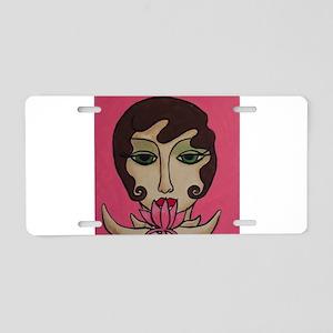 Lotus Blossom Aluminum License Plate