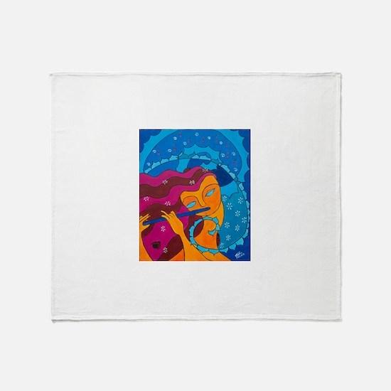 Flute Player Throw Blanket