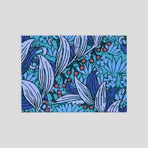 Blue Batik Floral Pattern 5'x7'Area Rug