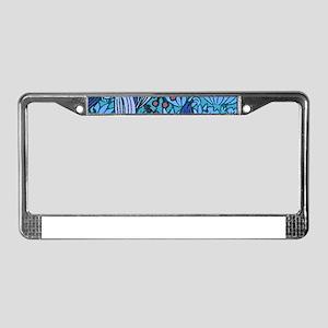 Blue Batik Floral Pattern License Plate Frame