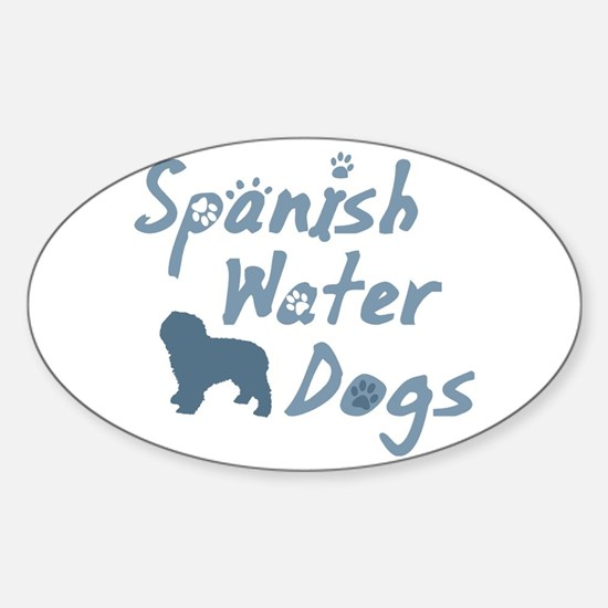Baby Blue Spanish Water Dog Oval Decal