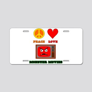 Peace Love Monster Movies Aluminum License Plate