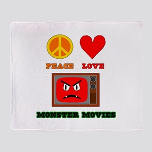 Peace Love Monster Movies Throw Blanket