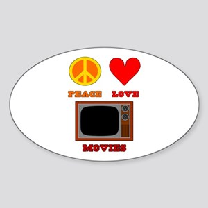 Peace Love Movies Sticker (Oval)