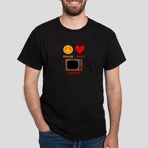 Peace Love Movies Dark T-Shirt