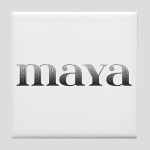 Maya Carved Metal Tile Coaster