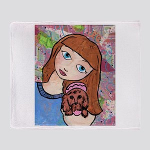 Kritter Girl and Baby - Dog Throw Blanket