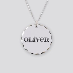 Oliver Carved Metal Necklace Circle Charm