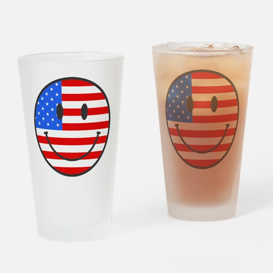 Smiley Face Fourth Of July Drinking Glass