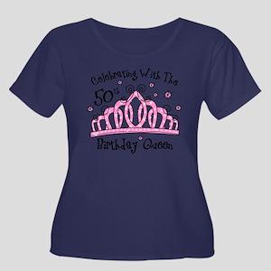 Tiara 50 Cw Scoop Neck Dark Plus Size T-Shirt