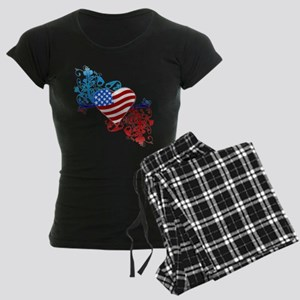 July 4th Heart Scroll Women's Dark Pajamas