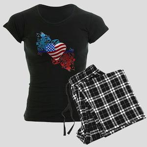 July 4th Heart Scroll Women's Dark Pajamas
