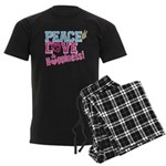 Peace, Love and Happiness Men's Dark Pajamas