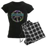 Retro Peace Sign Imagine Women's Dark Pajamas