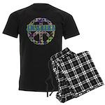 Retro Peace Sign Imagine Men's Dark Pajamas