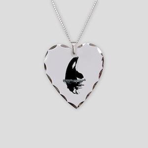 Orca Killer Whale Necklace Heart Charm
