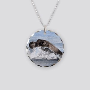 Swimming Seal Necklace Circle Charm