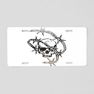 Halloween Barbed Skull Aluminum License Plate