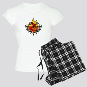 Depp Heart Flame Tattoo Women's Light Pajamas
