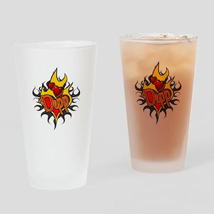 Depp Heart Flame Tattoo Drinking Glass