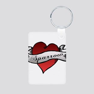 Sparrow Tattoo Heart Aluminum Photo Keychain