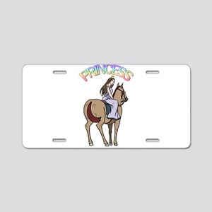 Brunette Princess and Pony Aluminum License Plate