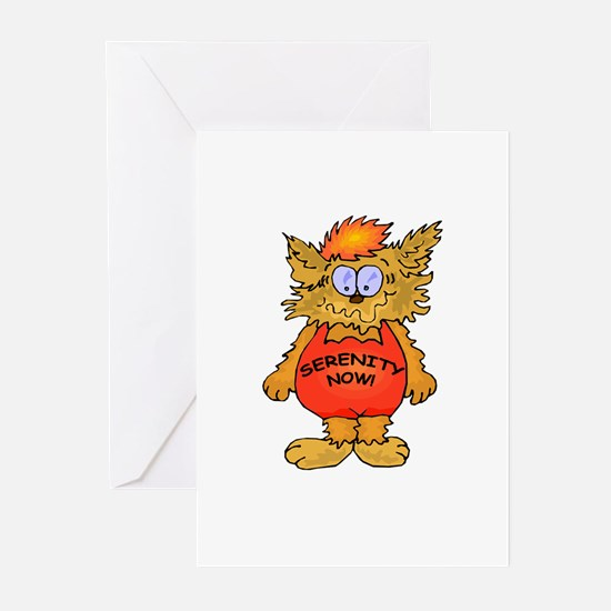 Serenity Now Stressed Out Cat Greeting Cards (Pk o