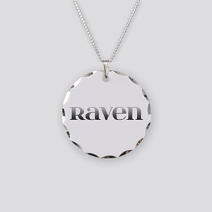 Raven Carved Metal Necklace Circle Charm