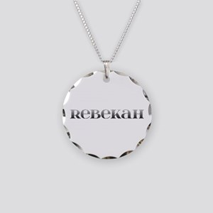 Rebekah Carved Metal Necklace Circle Charm