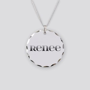 Renee Carved Metal Necklace Circle Charm