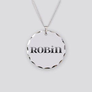 Robin Carved Metal Necklace Circle Charm