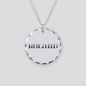 Roland Carved Metal Necklace Circle Charm