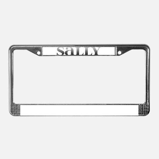 Sally Carved Metal License Plate Frame
