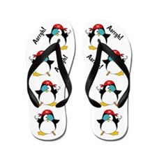 Pirate Penguin Flip Flops