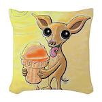 Ice Cream Chihuahua Woven Throw Pillow