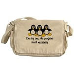 One by one, the penguins. Messenger Bag