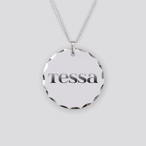 Tessa Carved Metal Necklace Circle Charm