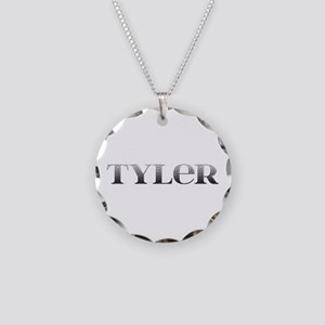 Tyler Carved Metal Necklace Circle Charm