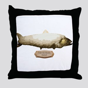 Fur-Bearing Trout Throw Pillow