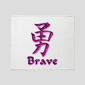 Brave in English/Kanji Pink E Throw Blanket