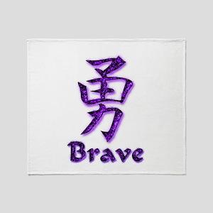 Brave in English/Kanji Purple Throw Blanket