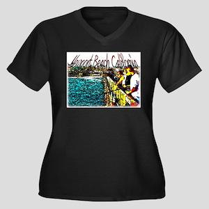 Newport beach pier fishing Women's Plus Size V-Nec
