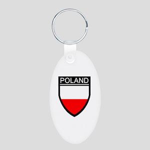 Poland Flag Patch Aluminum Oval Keychain