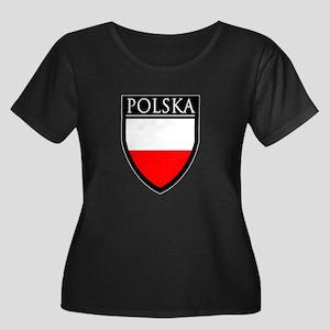 Poland (POLSKA) Patch Women's Plus Size Scoop Neck
