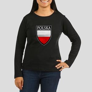 Poland (POLSKA) Patch Women's Long Sleeve Dark T-S