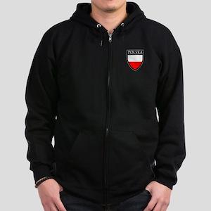 Poland (POLSKA) Patch Zip Hoodie (dark)