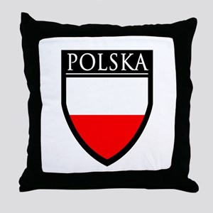 Poland (POLSKA) Patch Throw Pillow