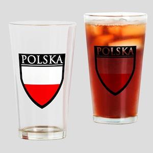 Poland (POLSKA) Flag Patch Drinking Glass